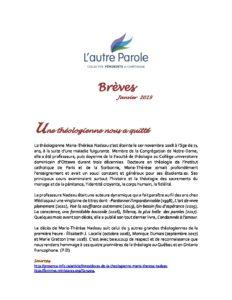 thumbnail of Les Brèves – Janvier 2019 F