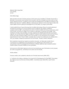 Lettre d'appui de Suzanne Loiselle