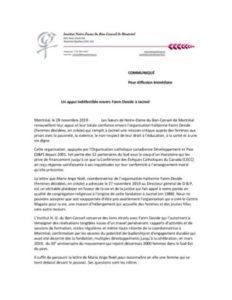 Lettre de l'Institut Notre-Dame du Bon-Conseil